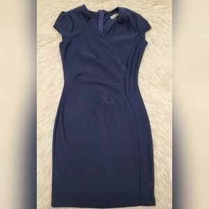 Mystic Navy Blue Fitted Short Sleeve Dress Large